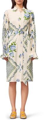 Tory Burch Long Sleeve Print Cotton Shirtdress