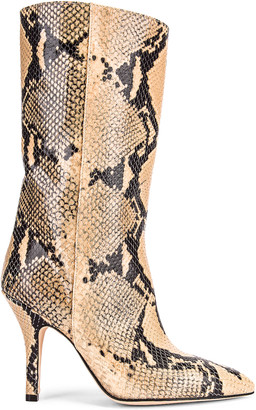 Paris Texas Python Print Midi Boot in Beige | FWRD