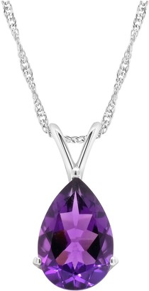 Sterling Silver 4.70 cttw Amethyst Pendant w/ Chain