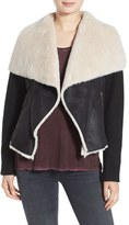 Betsey Johnson Mixed Media Faux Shearling Jacket