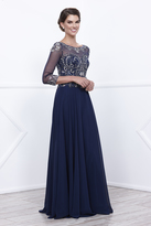 Unique Vintage Navy Three-Quarter Embellished Sheer Sleeve Ball Gown
