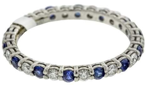 Tiffany & Co. Platinum Diamond and Blue Sapphire Eternity Band