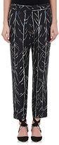 Proenza Schouler Women's Tree-Stem-Print Silk Twill Trousers-BLACK