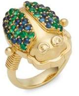 Temple St. Clair Crystal and 18K Yellow Gold Scarab Ring