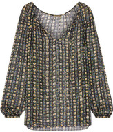 Saint Laurent Metallic Striped Floral-print Silk-chiffon Blouse - Black