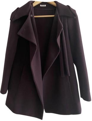 Miu Miu Burgundy Wool Coat for Women