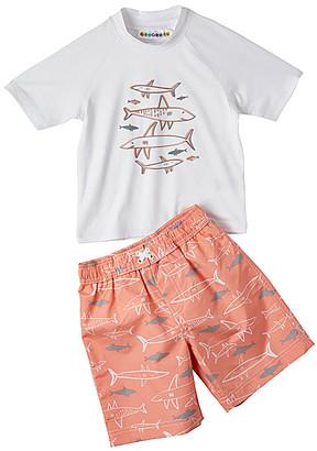 Wippette Boys' Board Shorts SOFT - Soft Peach & White Swimming Sharks Rashguard Set - Infant
