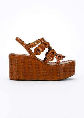 Prada 95mm Woven Platform Wedge Sandals