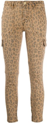 Frame Leopard-Print Cropped Cargo Skinny Jeans