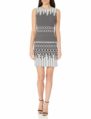 Julia Jordan Women's Short Sleeve Jewel Neck All Over Dot Dress Black/White 12