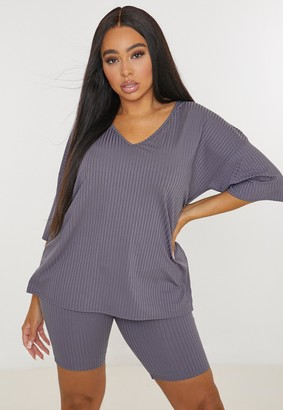 Missguided Plus Size Dark Grey Ribbed V Neck T Shirt