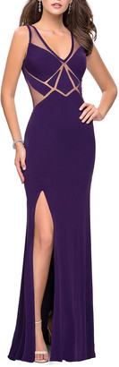La Femme V-Neck Sleeveless Open-Back Jersey Gown with Geometric Illusion
