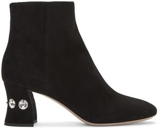 Miu Miu Black Jewelled Ankle Boots