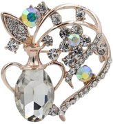 Totoroforet Flowers in the Vase Zircon and Rhinestones 14K Gold Plating Brooch/Pin-White