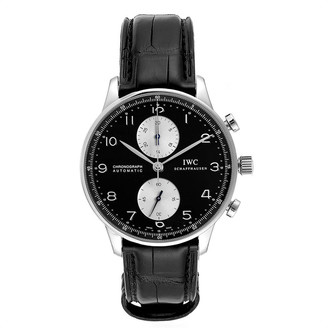 IWC Black Stainless Steel Portuguese Chrono Automatic IW371404 Men's Wristwatch 40.9 MM