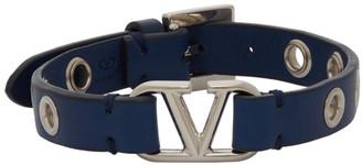 Valentino Blue Garavani Calfskin VLogo Eyelet Bracelet