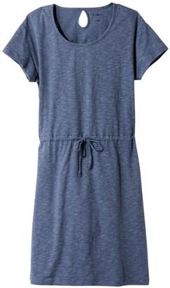 L.L. Bean Women's Cotton/Tencel Slub Dress, Short-Sleeve Tie-Front