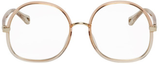 Chloé Pink Injected Rim Oversized Square Glasses