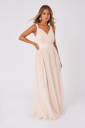 Little Mistress Bridesmaid Alexia Nude Ruched Bodice Maxi Dress