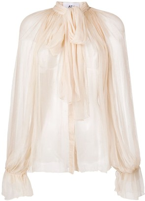 Atu Body Couture Sheer Tied-Neck Blouse