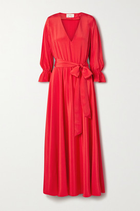 ARoss Girl x Soler Amanda Belted Silk Crepe De Chine Maxi Dress - Red