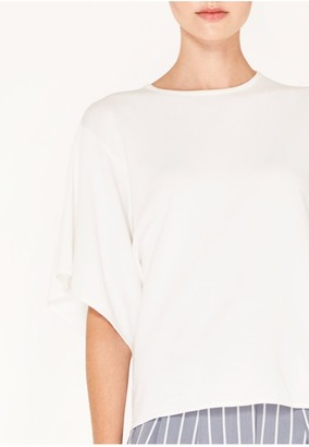 Iclothing Paisie Knitted Top with Asymmetric Sleeves in White