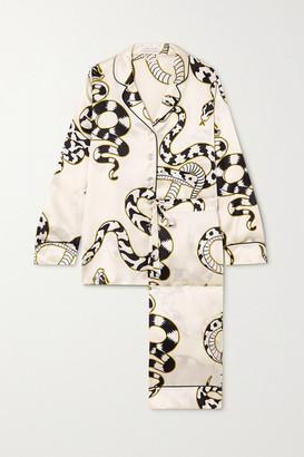 Olivia von Halle Lila Printed Silk-satin Pajama Set - Ivory