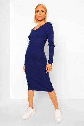 boohoo Rib Knit Maxi Bodycon Dress