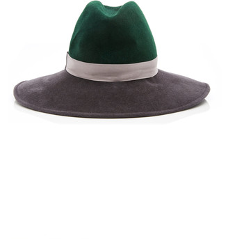 Gigi Burris Millinery Exclusive Requiem Sateen-Trimmed Wool-Felt Fedora