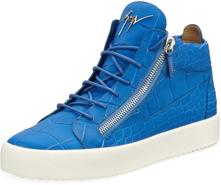 Giuseppe Zanotti Men's Crocodile-Embossed Leather Mid-Top Sneakers, Blue