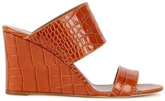 Paris Texas 80mm Crocodile-Effect Leather Wedge Mules