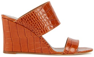 Paris Texas 80mm Crocodile-effect Leather Wedge Mules