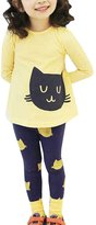 Mactery Little Girls Cat Printed Long Sleeve Top & Pant Sets