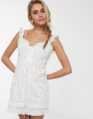 For Love & Lemons Azalea lace up mini dress in white floral