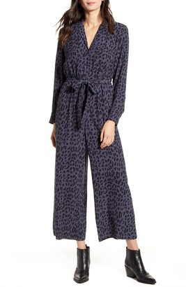 Rails Callan Animal Print Long Sleeve Crop Jumpsuit