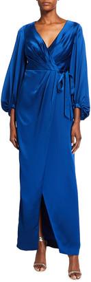 Aidan Mattox Bishop-Sleeve Long Satin Wrap Dress