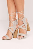 Missguided Cross Strap Lace Back Block Heel Sandals Grey