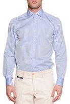 Stefano Ricci Check French-Cuff Sport Shirt, Light Blue