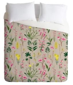 Deny Designs Holli Zollinger Wildflower Study Neutral Queen Duvet Set Bedding