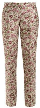 Giambattista Valli Floral-jacquard Kick-flare Trousers - Womens - Ivory Multi