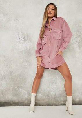 Missguided Soft Cord Oversized Shirt Dress