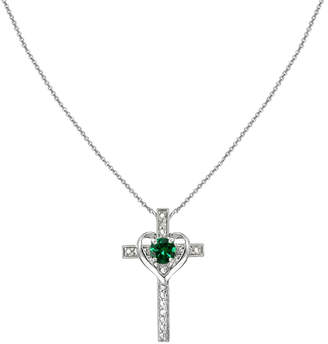 Designs By Fmc Designs by FMC Women's Necklaces silver - Emerald & Sterling Silver Heart Cross Pendant Necklace