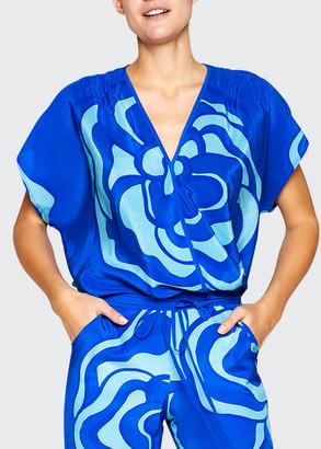 JALINE Nina Kimono-Sleeve Wrap Top