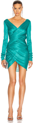 Alexandre Vauthier Ruched Mini Dress in Lagoon | FWRD