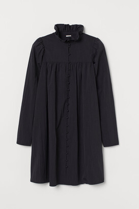 H&M Ruffled-collar Dress - Black