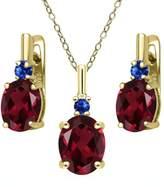 Gem Stone King 6.68 Ct Red Rhodolite Garnet Blue Sapphire 18K Yellow Gold Plated Silver Pendant Earrings Set