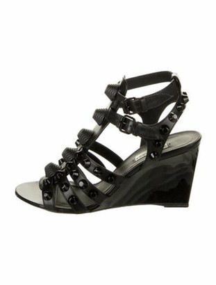 Balenciaga Leather Studded Accents Gladiator Sandals Black