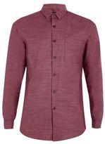 Topman Burgundy Slub Textured Long Sleeve Dress Shirt