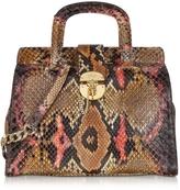 Ghibli Brown and Pink Python Satchel Bag w/Detachable Shoulder Strap