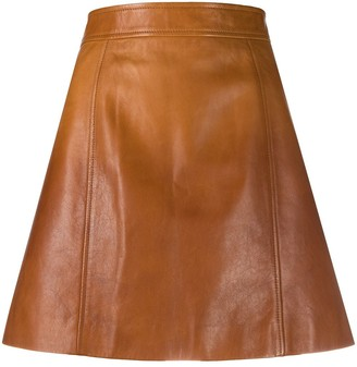 Prada leather A-line mini skirt